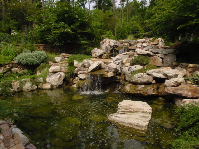 Creative Garden Spaces Inc, Carborro NC, water feature, natural waterfall, water garden, koi pond, stone steps, stone stairway, custom stonework, landscape boulders